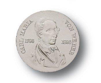 10-Mark-Münze 1976, 150. Todestag Carl Maria von Weber, DDR