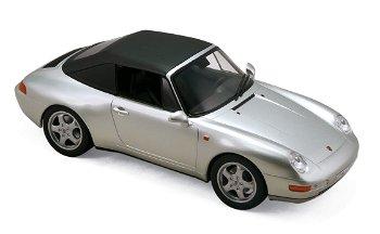 Modellauto:Porsche 911 Carrera Cabriolet von 1993, silber(Norev, 1:18)