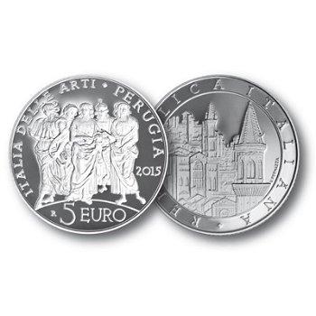 Italien der Künste: Perugia, 5 Euro Silbermünze Italien