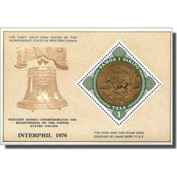 """Internationale Briefmarkenausstellung """"INTERPHIL '76"""" – Briefmarken-Block postfrisch, Katalog-Nr. 33"""