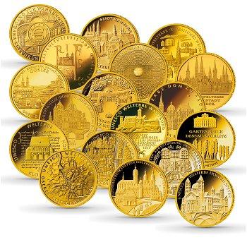 Gold-Euro-Sammlung, alle achtzehn 100-Euro-Goldmünzen