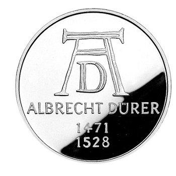 """5-DM-Silbermünze """"500. Geburtstag Albrecht Dürer"""", Stempelglanz"""