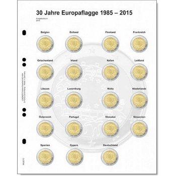 """Lindner Vordruckblatt für 2 Euro-Gedenkmünzen: Gemeinschaftsausgabe """"30 Jahre Europaflagge&quot"""