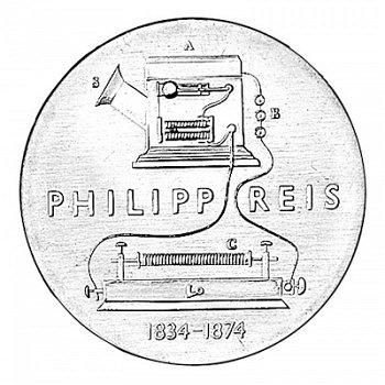 "5-Mark-Münze 1974 ""100. Todestag Philipp Reis"", DDR"