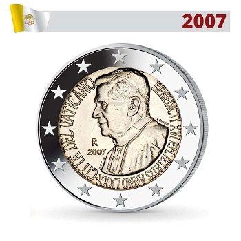 2 Euro Münze 2007, 80. Geburtstag Papst Bendedikt, Vatikan