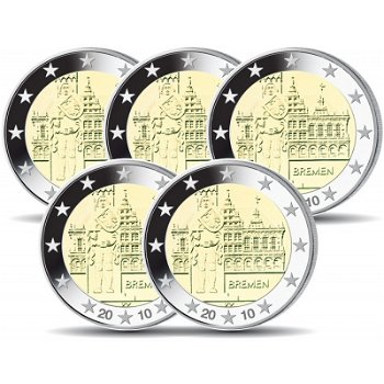 2 Euro Münze 2010, Rathaus & Roland / Bremen, Deutschland, 5 Prägezeichen
