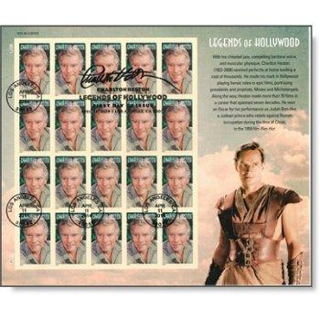 Charlton Heston, der Held von Ben Hur - Kleinbogen gestempelt, USA
