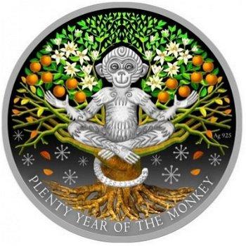 Jahr des Affen/Plenty Year, 1 Dollar Silbermünze mit Farbauflage, Niue