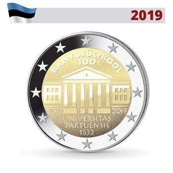 100. Jahrestag der Gründung der Universität Tartu, 2 Euro Gedenkmünze 2019, Estland