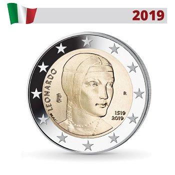 500. Todestag von Leonardo da Vinci, 2 Euro Münze 2019, Italien