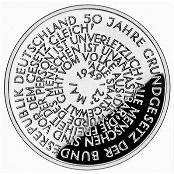 """10-DM-Silbermünze """"50 Jahre Grundgesetz"""", Stempelglanz"""