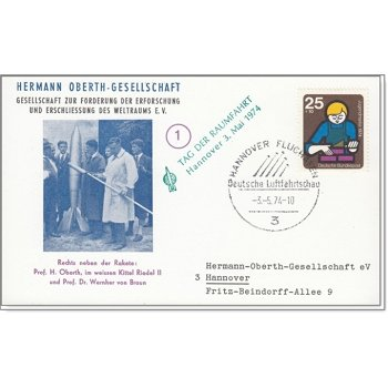 Weltraum: Raketenpioniere Oberth / Riedel / von Braun - Erinnerungskarte, Bund