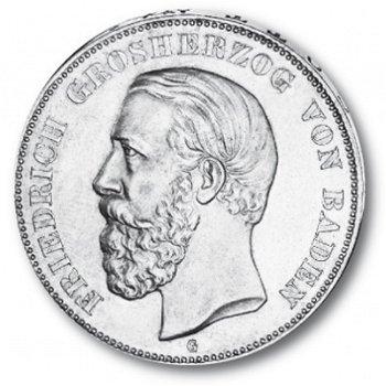 5 Mark Silbermünze, Großherzog Friedrich I., Katalog-Nr. 27, Großherzogtum Baden