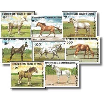 Pferderassen – Briefmarken postfrisch, ungezähnt, Katalog-Nr. 699-706, Komoren