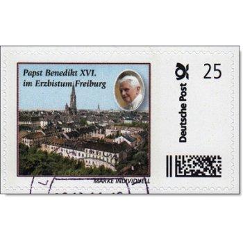 Pope Benedict XVI in Freiburg - stamp individually stamped