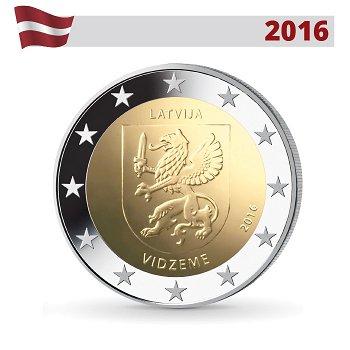 Regionen Lettlands: Vidzeme Region, 2 Euro Münze 2016, Lettland