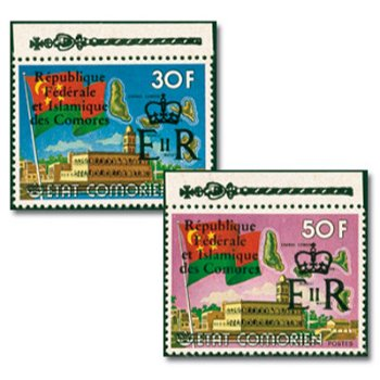 25. Jahrestag der Krönung von Königin Elisabeth II. - zwei Briefmarken mit Aufdruck, postfrisch, Kat