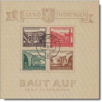 Brückenbau, Block 4 gestempelt, Katalog-Nr. 112-115, Sowjetische Zone Thüringen
