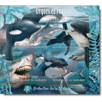 Naturschutz: Orcas und Haie – Briefmarken-Block postfrisch, Burundi