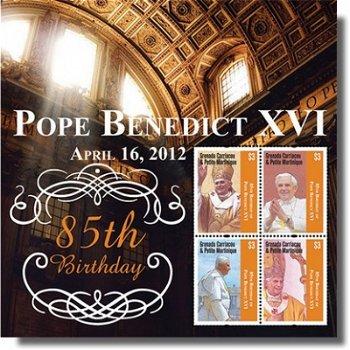 85. Geburtstag von Papst Benedikt XVI. - Briefmarken-Block postfrisch, Grenada Carriacou & Petit