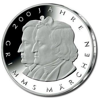 200 Jahre Gebrüder Grimm, 10-Euro-Silbermünze 2012, Polierte Platte