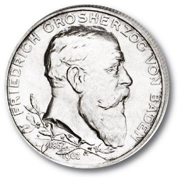 2 Mark Silbermünze, Regierungsjubiläum, Katalog-Nr. 30, Großherzogtum Baden