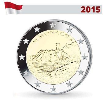 Bau des ersten Schlosses, 2 Euro-Münze 2015, Monaco