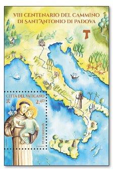 800 Jahre Reise des Heiligen Antonius von Padua - Block postfrisch, Vatikan