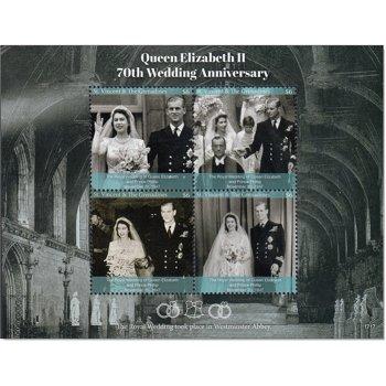 70. Hochzeitstag von Queen Elizabeth II. und Prinz Philip - Briefmarken Block postfrisch, St. Vincen