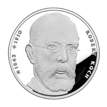"""10-DM-Silbermünze """"150. Geburtstag Robert Koch"""", Stempelglanz"""