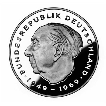 """2-DM-Münzen """"Theodor Heuss"""" - Jahrgang 1985, alle vier Prägezeichen"""