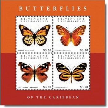 Schmetterlinge der Karibik - Briefmarkenblock postfrisch, St. Vincent und Grenadinen