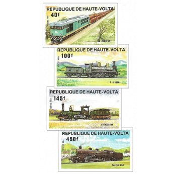 Lokomotiven – Briefmarken postfrisch, ungezähnt, Katalog-Nr. 968-971, Obervolta