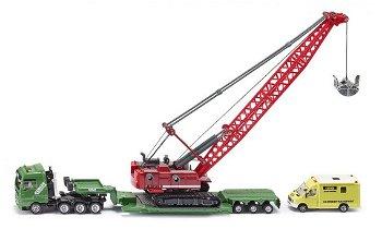 Modell-LKW:MAN Schwertransporter mit Liebherr Seilbagger und MB Begleitfahrzeug(Siku, 1:87)