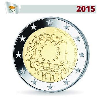 2 Euro Münze 2015, 30 Jahre Europaflagge, Zypern