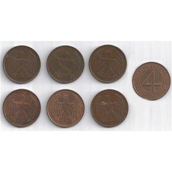 Brüninger Taler - The 4 Pfennig coin, set with 6 coins, all mints from 1932, Jaeger 315