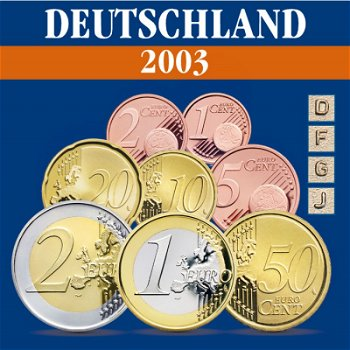 Deutschland - Kursmünzensatz 2003, Prägezeichen D, F, J, G
