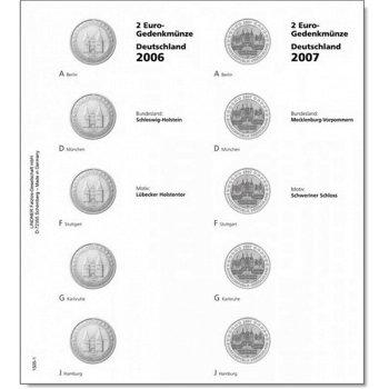 """Lindner Vordruckblatt inkl. Münzblatt für 2 Euro-Gedenkmünzen """"Deutsche Bundesländer"""": 201"""