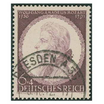 150. Todestag W. A. Mozart - Briefmarke, Kat.-Nr. 810, gestempelt, Deutsches Reich