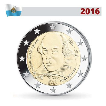 William Shakespeare, 2 Euro Münze 2016, San Marino