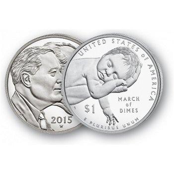 75 Jahre March of Dimes - Silberdollar 2015, 1 Dollar Silbermünze, USA