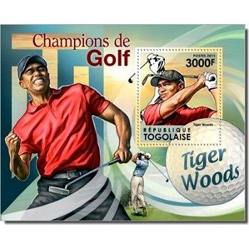 """Weltmeister im Golf """"Tiger Woods"""" - Briefmarken-Block postfrisch, Togo"""