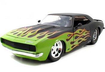 Modellauto:Chevrolet Camaro - Flammen - von 1968, mattschwarz(Jada Toys, 1:18)