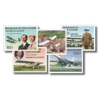 Geschichte der Luftfahrt - 5 Briefmarken ungezähnt postfrisch, Katalog-Nr. 511B-515B, Elfenbeinküste