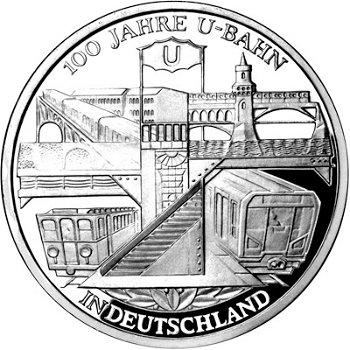 100 Jahre U-Bahn, 10-Euro-Silbermünze 2002, Stempelglanz