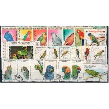 Papageien - 100 verschiedene Briefmarken