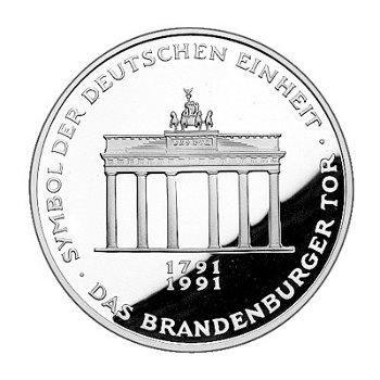 """10-DM-Silbermünze """"200 Jahre Brandenburger Tor"""", Polierte Platte"""