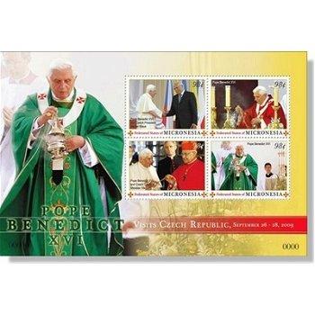 Papst Benedikt XVI. Besuch in Tschechien - Briefmarken-Block postfrisch, Micronesien