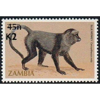 Affen, Diademmeerkatze - Briefmarke mit lokalem Aufdruck, Katalog-Nr. 566, Sambia