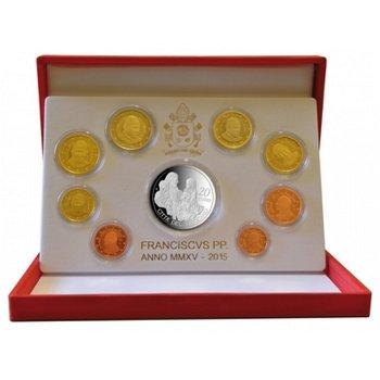 Kursmünzensatz 2015, 20 Euro Silbermünze Papst Franziskus, Vatikan